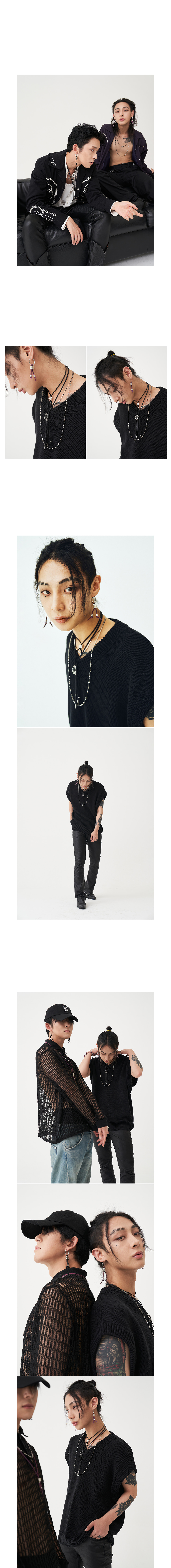 블랙 퍼플(BLACK PURPLE) BYBE X BP 레더 스트링 초커 목걸이 - 화이트