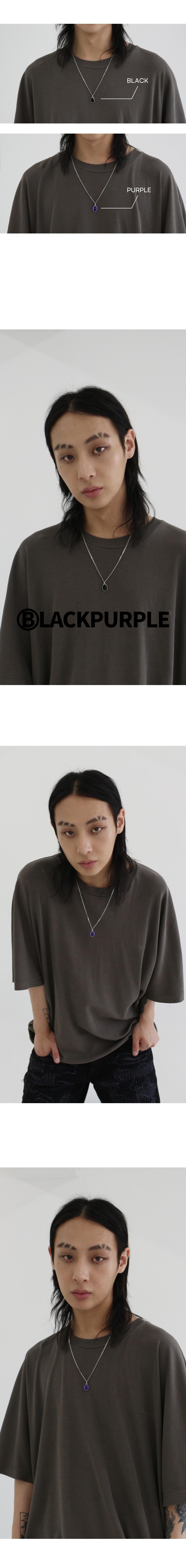 블랙 퍼플(BLACK PURPLE) 조약돌 목걸이_블랙